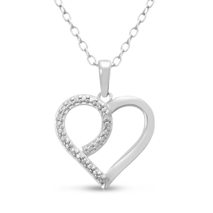 Feminine Diamond Heart Pendant Necklace, 18 Inches, J/K in Sterli