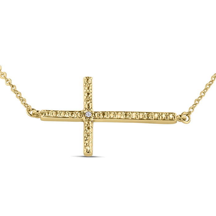 Womens Sideways Cross Necklace w/ Diamonds On 18 Inch Chain, J/K