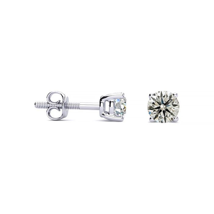 1/2 Carat Diamond Stud Earrings in 14k White Gold, K/L by SuperJe