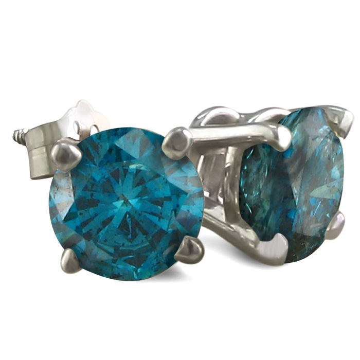2 Carat Blue Diamond Stud Earrings, 14k White Gold (1.1 g) by SuperJeweler