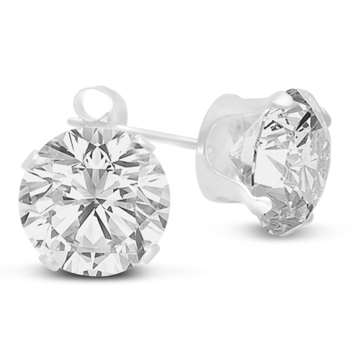 4 Carat Diamond Size Cubic Zirconia Stud Earrings, Sterling Silve
