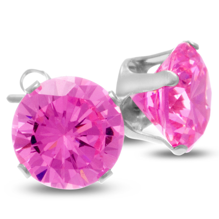 4 Carat Pink Cubic Zirconia Stud Earrings in Sterling Silver by S