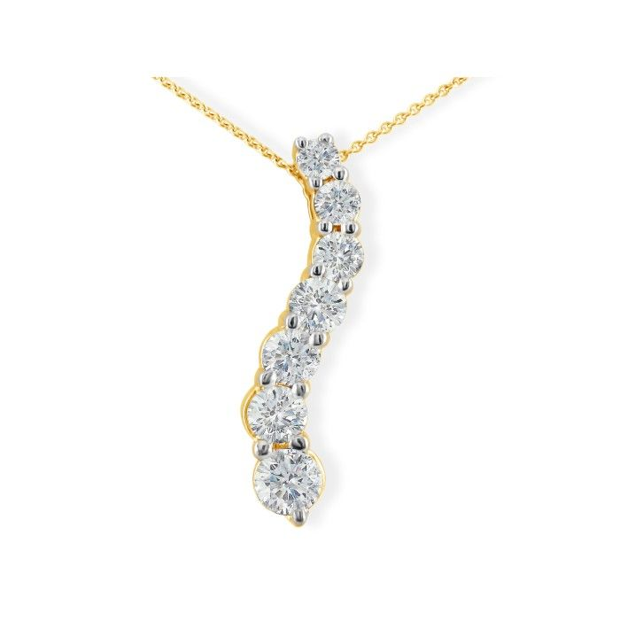 1 Carat Curve Style Journey Diamond Pendant Necklace in 14k Yello