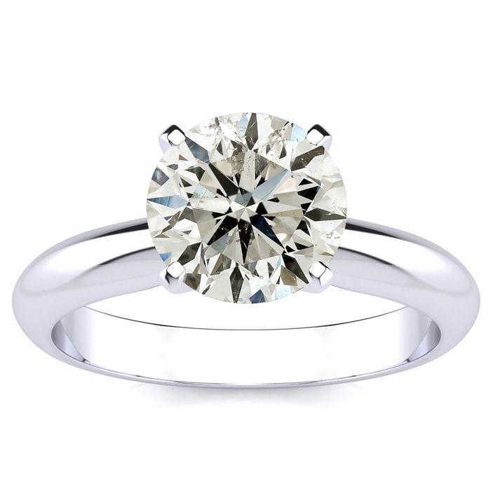 2 Carat Diamond Solitaire Engagement Ring in 14K White Gold (3 g) (J-K, I1-I2 Clarity Enhanced) by SuperJeweler