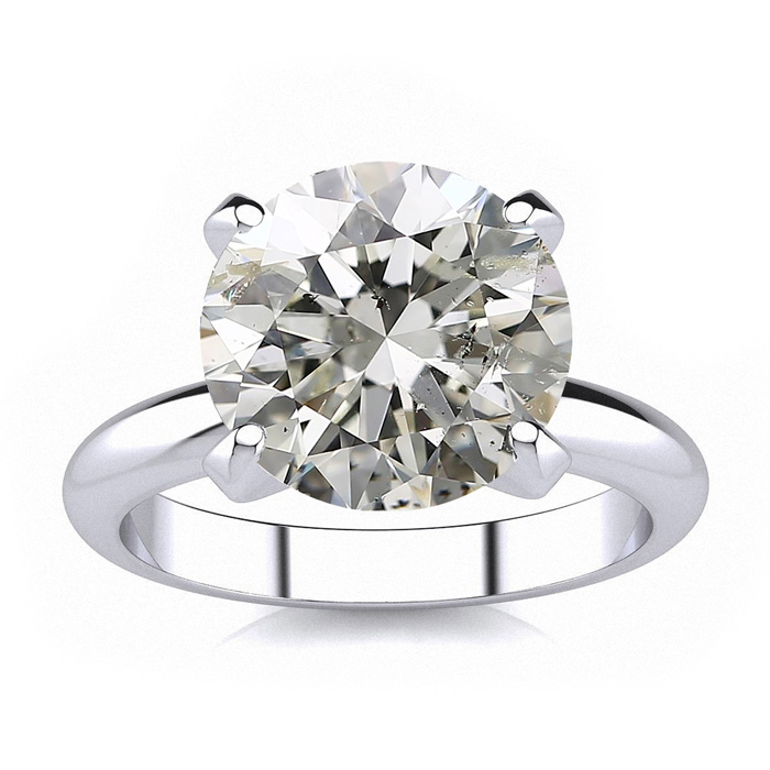 Image of 5.03 Carat Round Diamond Solitaire Engagement Ring, H-I Color, I1 Clarity