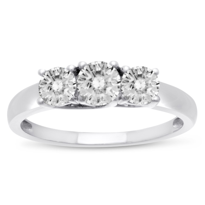 1 Carat Three Diamond Ring Crafted in Solid Sterling Silver, K/L