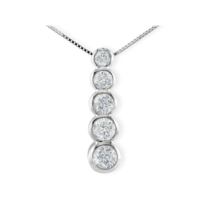 3/4 Carat Bezel Set Journey Diamond Pendant Necklace in 14k White