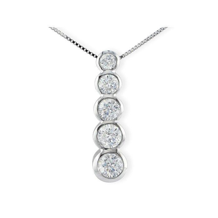3/4 Carat Bezel Set Journey Diamond Pendant Necklace in 14k White Gold (3.9 g), I/J, 18 Inch Chain by SuperJeweler