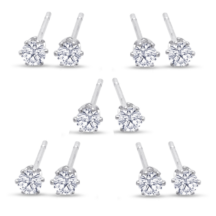 Set Of Five Cubic Zirconia Stud Earrings - 1/3ct, 1/2ct, 1ct, 1 3