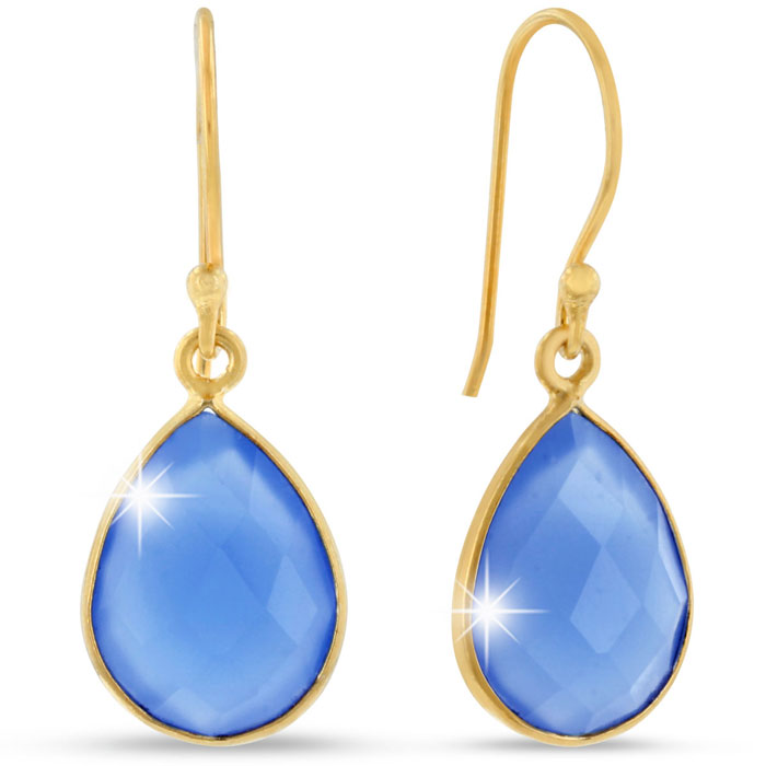 12 Carat Blue Chalcedony Pear Shape Earrings in 18K Gold Overlay