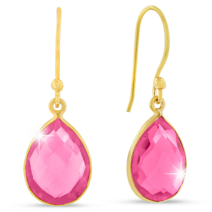 12 Carat Created Raspberry Quartz Pear Shape Earrings in 18K Gold