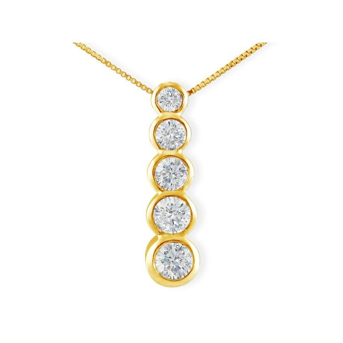 3/4 Carat Bezel Set Journey Diamond Pendant Necklace in 14k Yello