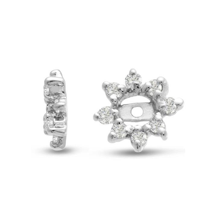 14K White Gold Flower Diamond Earring Jackets, Fits 1/4-1/2 Carat