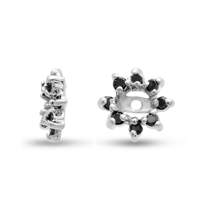 14K White Gold Flower Black Diamond Earring Jackets, Fits 1/4-1/2