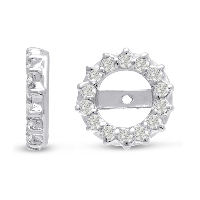 14K White Gold Classic Diamond Earring Jackets, Fits 2-2.5 Carat