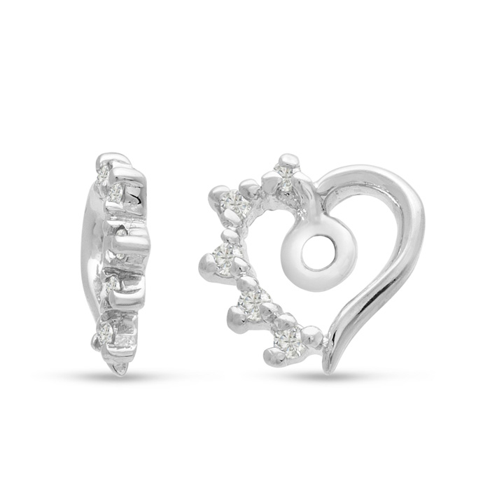 14K White Gold Heart Shape Diamond Earring Jackets, Fits 1-1.5 Ca