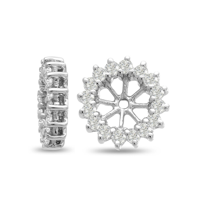 14K White Gold Classic Diamond Earring Jackets, Fits 1.5-2 Carat