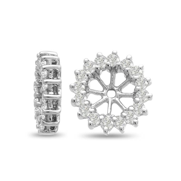 14K White Gold Classic Diamond Earring Jackets, Fits 1.5-2 Carat Stud Earrings, G/H by SuperJeweler