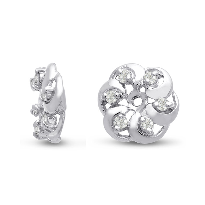 14K White Gold Floret Diamond Earring Jackets, Fits 1/5-1/4 Carat