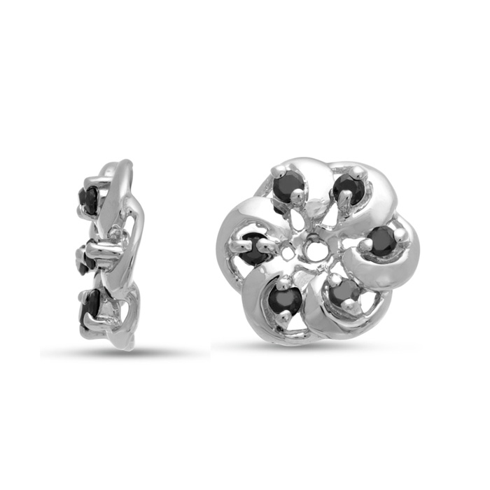 14K White Gold Floret Black Diamond Earring Jackets, Fits 1/5-1/4