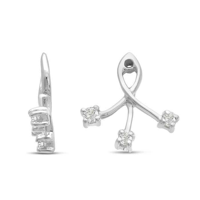 14K White Gold Branch Diamond Earring Jackets