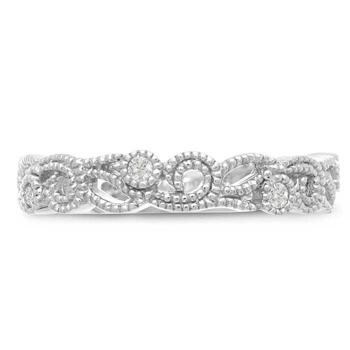 1/5 Carat Antique Floral Wedding Band Crafted in Solid 14K White Gold, G/H by SuperJeweler