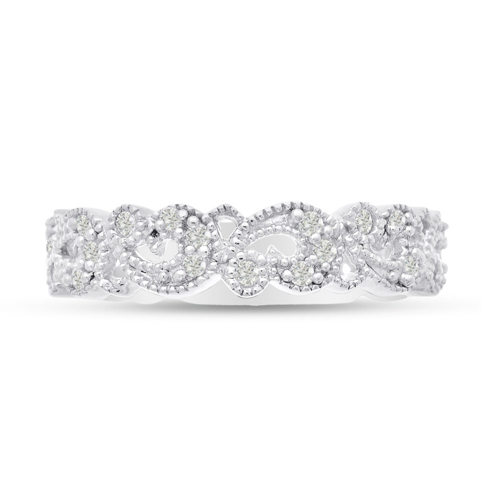 1/3 Carat Antique Floral Wedding Band Crafted in Solid 14K White Gold, G/H by SuperJeweler