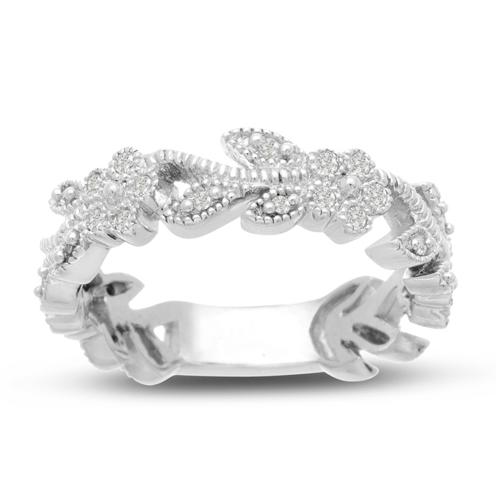 1/3 Carat Flowery Wedding Band Crafted in Solid 14K White Gold, G