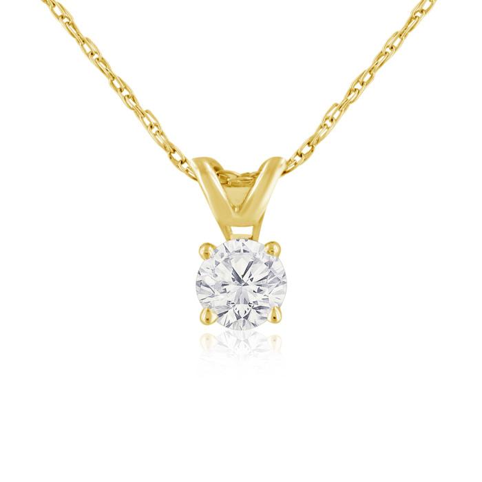1/4 Carat 14k Yellow Gold Diamond Pendant Necklace, K/L, 18 Inch