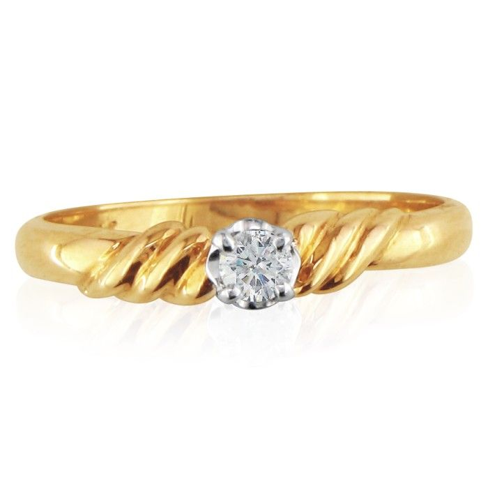 .05 Carat Twist Style Diamond Promise Ring in 10k Yellow Gold, I/J by SuperJeweler