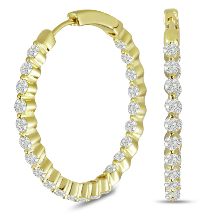 18K Yellow Gold (8.3 g) 3 Carat Floating Diamond Hoop Earrings, G