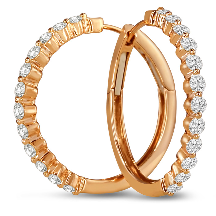14K Rose Gold (6.5 g) 1.50 Carat Floating Diamond Hoop Earrings,