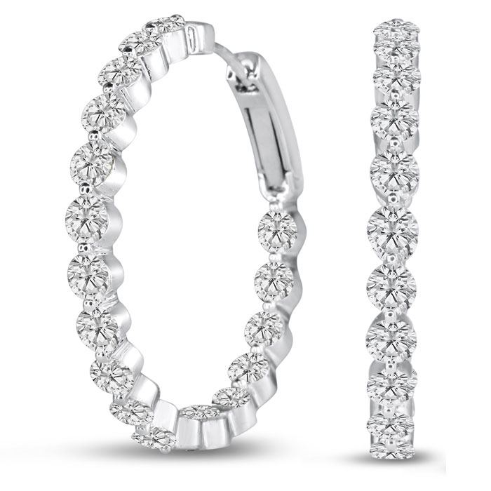 18K White Gold (12 g) 5 Carat Floating Diamond Hoop Earrings, G/H