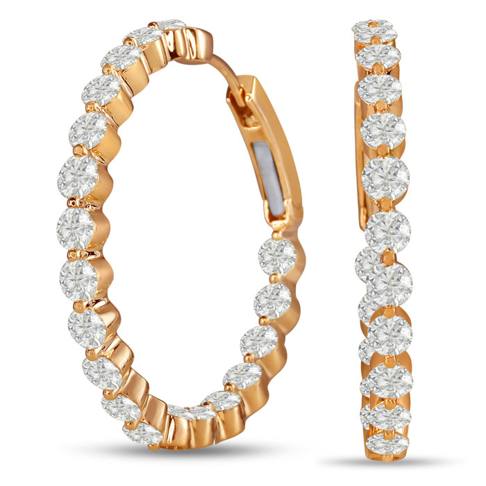 18K Rose Gold (12 g) 5 Carat Floating Diamond Hoop Earrings, G/H