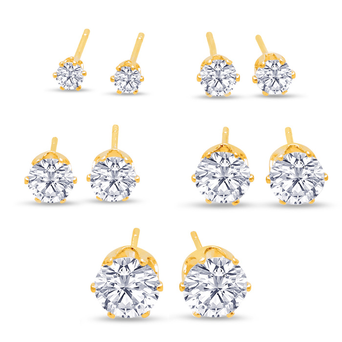 Set Of Five Cubic Zirconia Stud Earrings in Yellow Gold Color - 1/3ct, 1/2ct, 1ct, 1 3/4ct, & 2 1/4ct by SuperJeweler