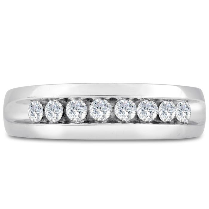 Mens 1/2 Carat Diamond Wedding Band in 10K White Gold, I-J-K, I1-I2, 6.57mm Wide by SuperJeweler