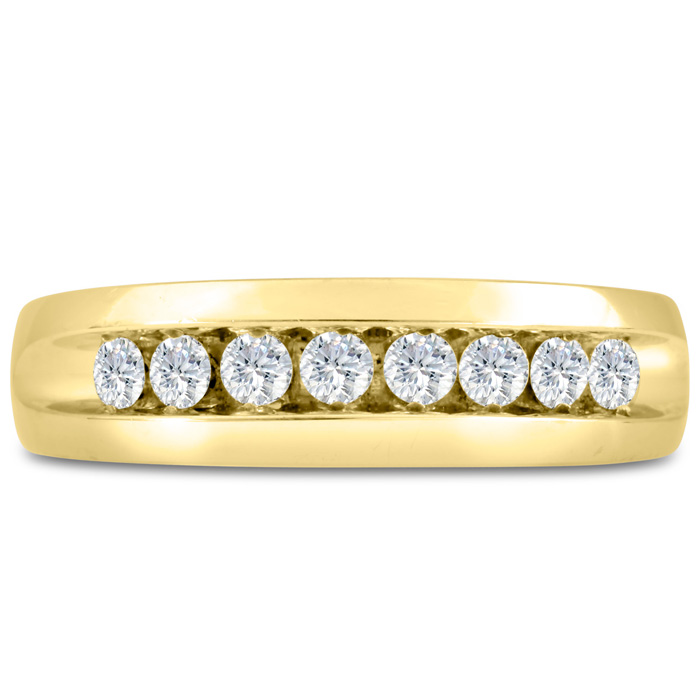 Mens 1/2 Carat Diamond Wedding Band in 10K Yellow Gold, G-H, I2-I3, 6.57mm Wide by SuperJeweler