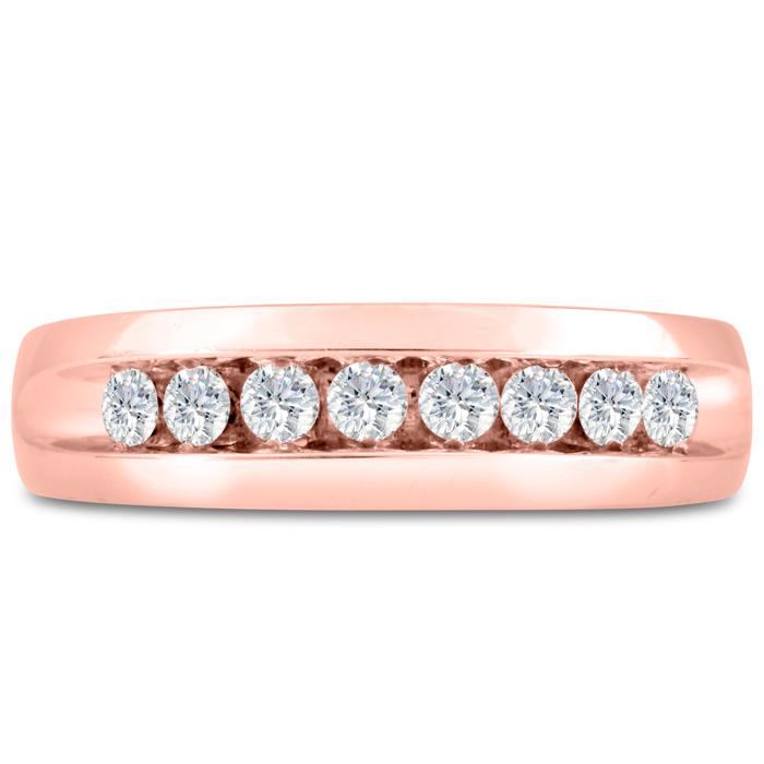 Mens 1/2 Carat Diamond Wedding Band in 14K Rose Gold, I-J-K, I1-I2, 6.57mm Wide by SuperJeweler