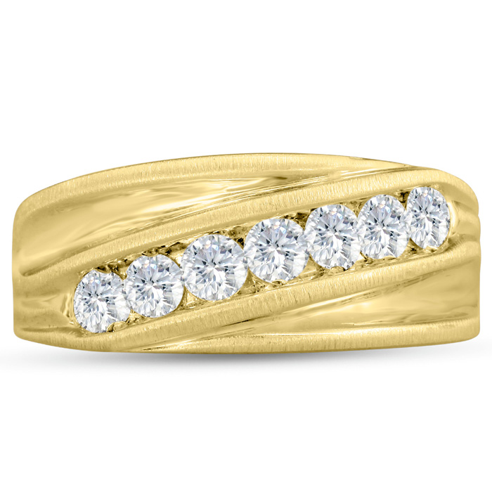 Mens 1 Carat Diamond Wedding Band in 10K Yellow Gold, G-H, I2-I3, 9.64mm Wide by SuperJeweler