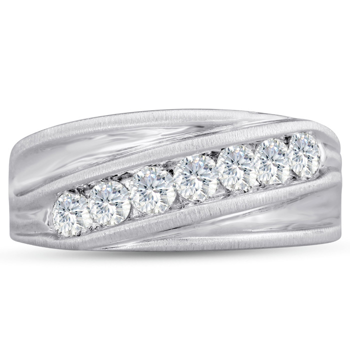 Mens 1 Carat Diamond Wedding Band in 14K White Gold, G-H, I2-I3,