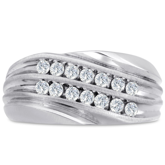 Mens 1/2 Carat Diamond Wedding Band in 10K White Gold, G-H, I2-I3, 10.76mm Wide by SuperJeweler