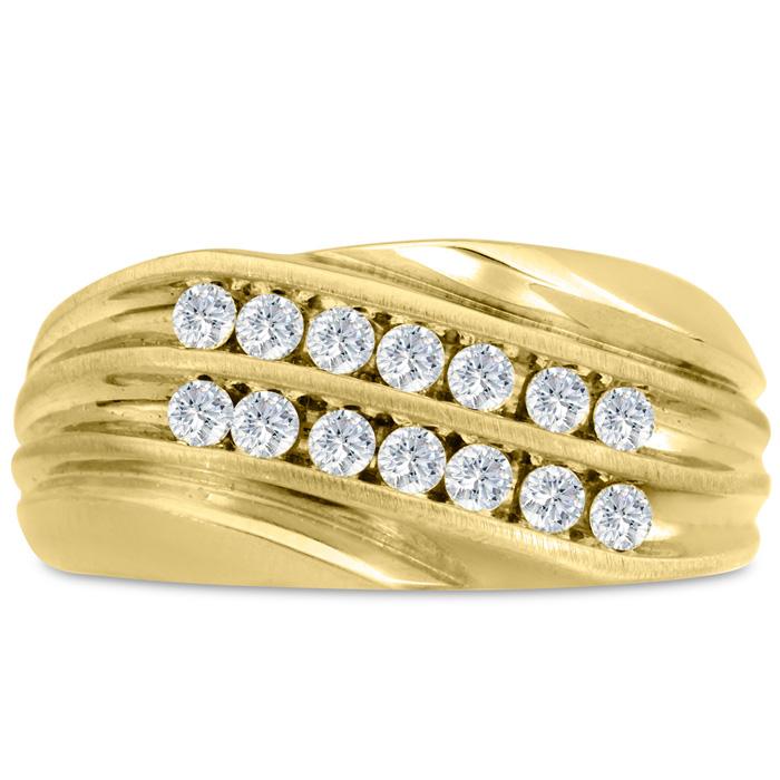 Mens 1/2 Carat Diamond Wedding Band in 10K Yellow Gold, I-J-K, I1-I2, 10.76mm Wide by SuperJeweler