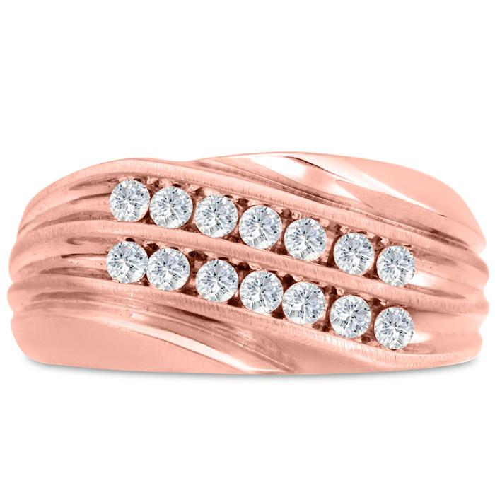 Mens 1/2 Carat Diamond Wedding Band in 14K Rose Gold, I-J-K, I1-I2, 10.76mm Wide by SuperJeweler