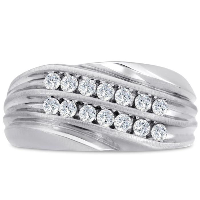 Mens 1/2 Carat Diamond Wedding Band in 14K White Gold, I-J-K, I1-I2, 10.76mm Wide by SuperJeweler