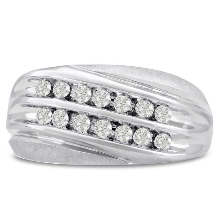 Mens 1/2 Carat Diamond Wedding Band in 10K White Gold, G-H, I2-I3
