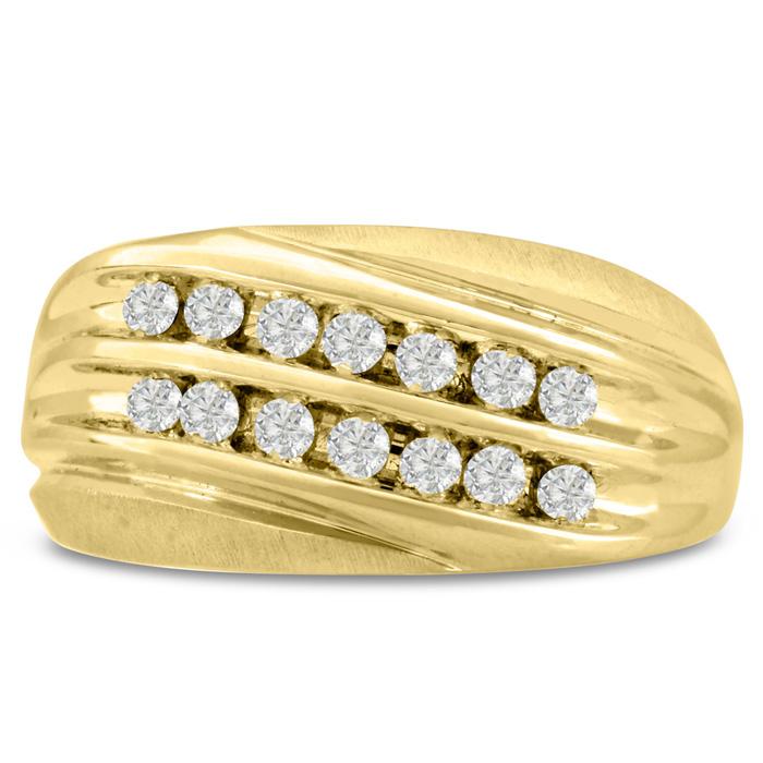 Mens 1/2 Carat Diamond Wedding Band in 10K Yellow Gold, I-J-K, I1-I2, 10.90mm Wide by SuperJeweler