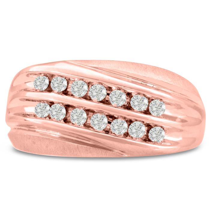Mens 1/2 Carat Diamond Wedding Band in 14K Rose Gold, G-H, I2-I3, 10.90mm Wide by SuperJeweler