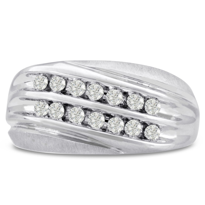 Mens 1/2 Carat Diamond Wedding Band in 14K White Gold, G-H, I2-I3, 10.90mm Wide by SuperJeweler