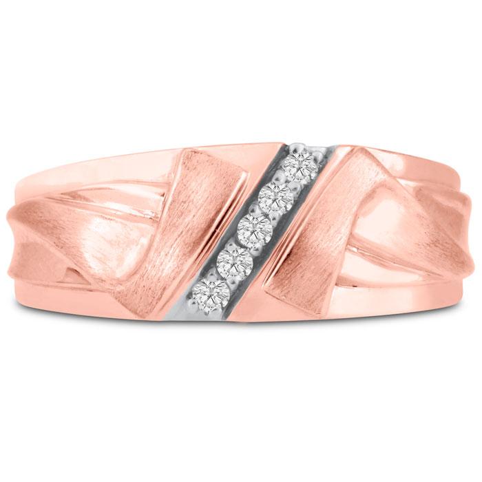 Mens 1/10 Carat Diamond Wedding Band in 10K Rose Gold, I-J-K, I1-I2, 8.60mm Wide by SuperJeweler