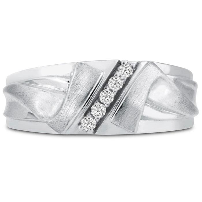 Mens 1/10 Carat Diamond Wedding Band in 10K White Gold, G-H, I2-I3, 8.60mm Wide by SuperJeweler